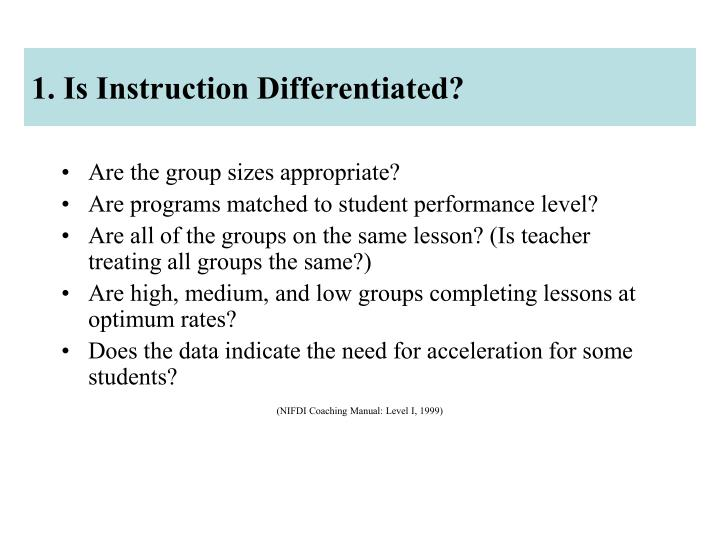 1. Is Instruction Differentiated?