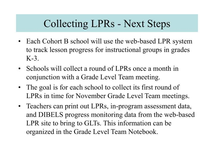 Collecting LPRs - Next Steps