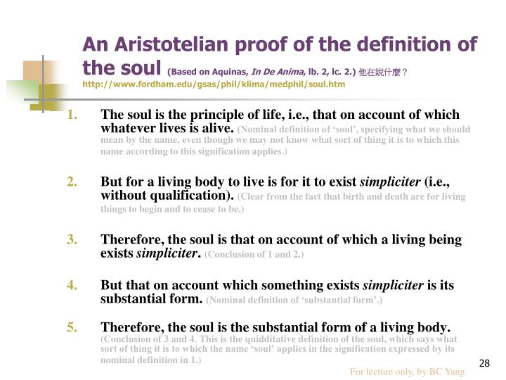 An Aristotelian proof of the definition of the soul