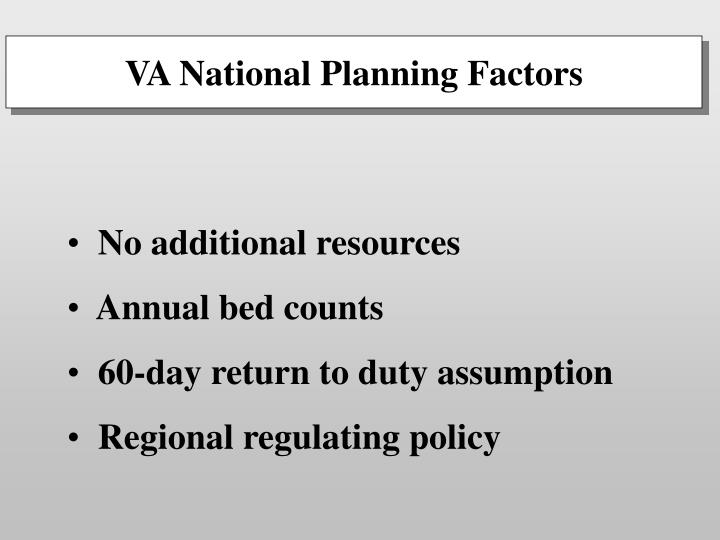 VA National Planning Factors