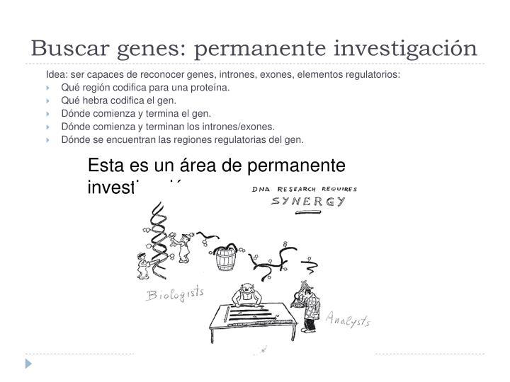 Buscar genes: permanente investigación