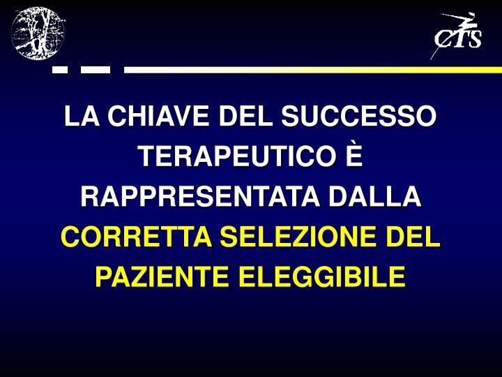 LA CHIAVE DEL SUCCESSO TERAPEUTICO È RAPPRESENTATA DALLA