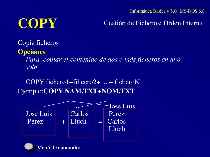 Informática Básica y S.O. MS-DOS 6.0