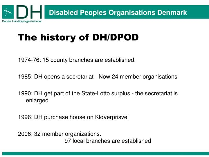 The history of DH/DPOD