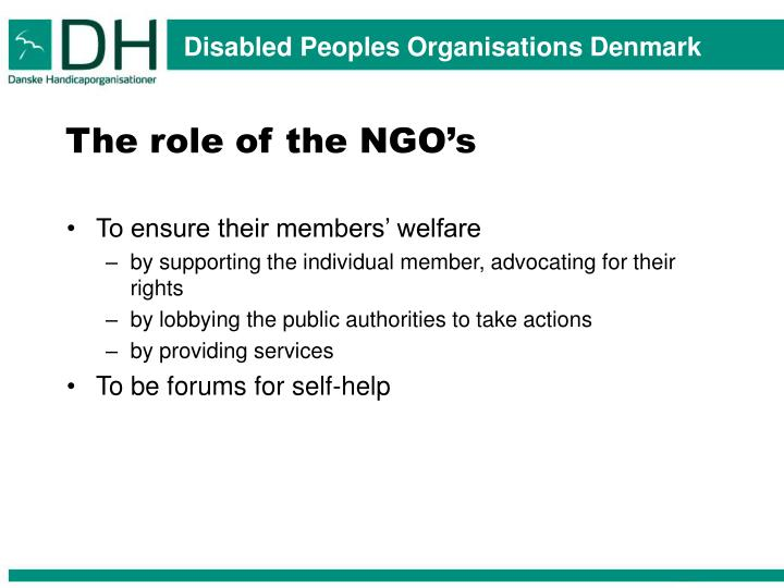 The role of the NGO's