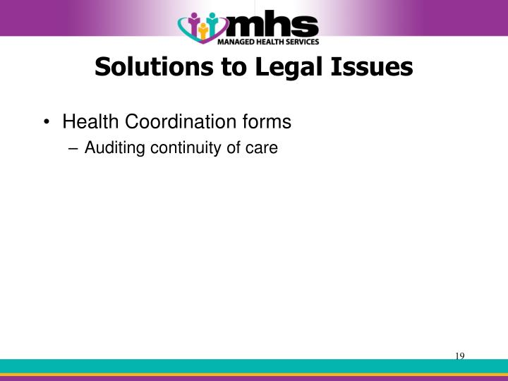 Solutions to Legal Issues
