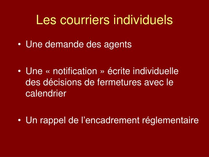 Les courriers individuels