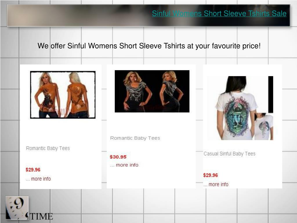 Sinful Womens Short Sleeve Tshirts Sale