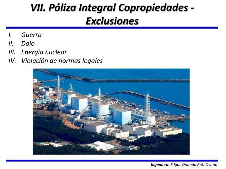 VII. Póliza Integral Copropiedades - Exclusiones