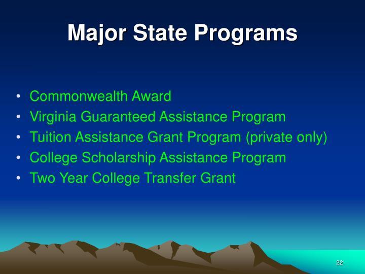 Major State Programs
