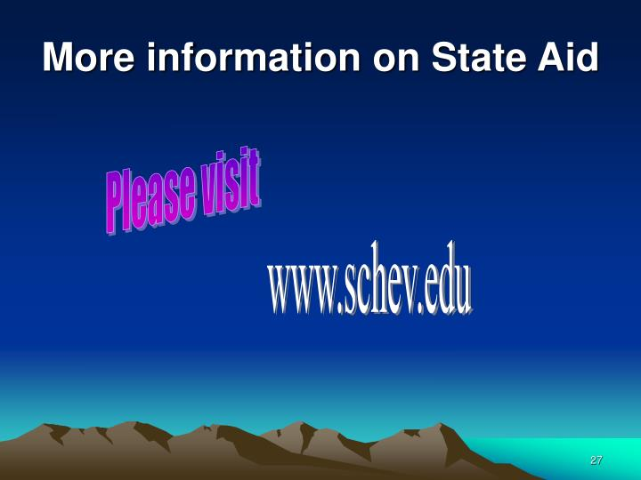 More information on State Aid