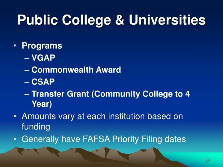 Public College & Universities