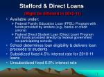 stafford direct loans might be different in 2010 11