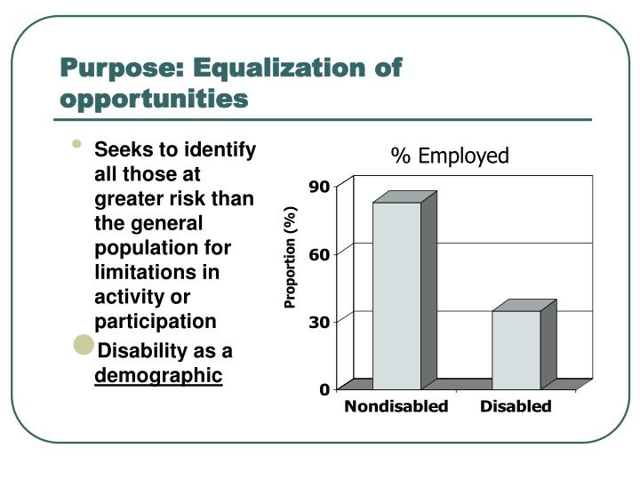 Purpose: Equalization of opportunities