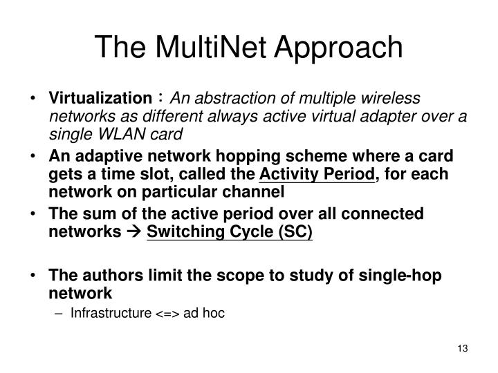 The MultiNet Approach