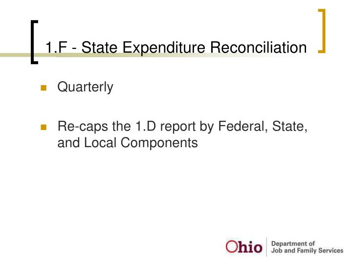 1.F - State Expenditure Reconciliation