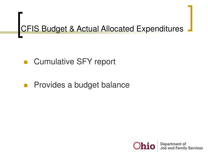 CFIS Budget & Actual Allocated Expenditures
