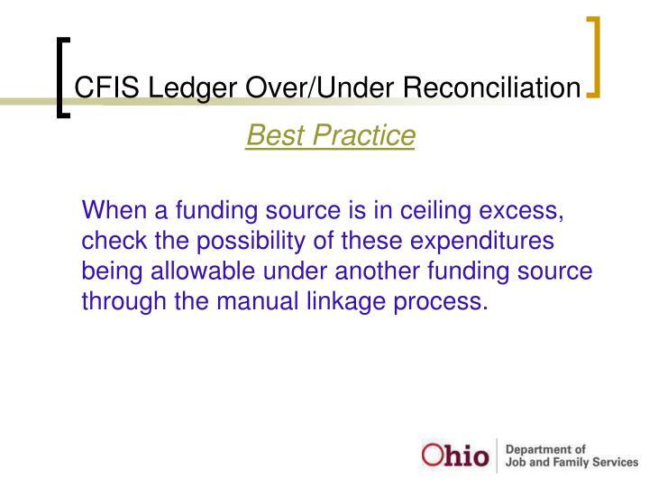 CFIS Ledger Over/Under Reconciliation