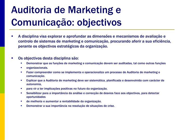 Auditoria de marketing e comunica o objectivos