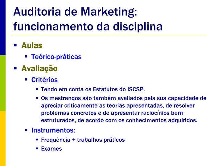 Auditoria de Marketing: