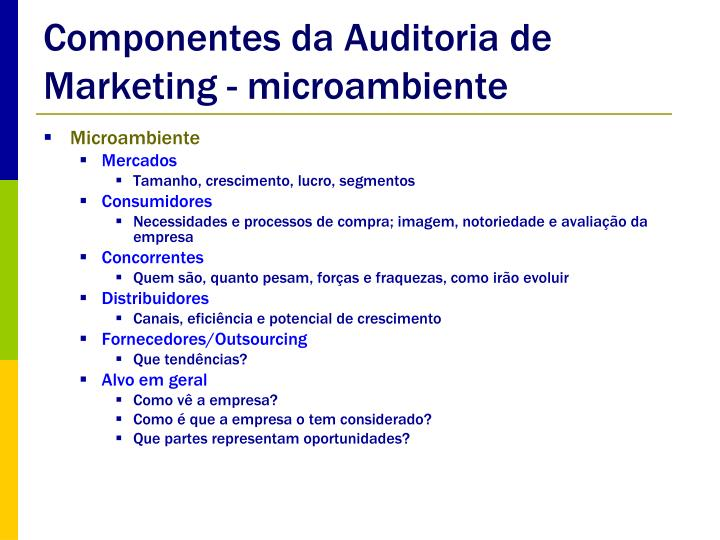 Componentes da Auditoria de Marketing - microambiente