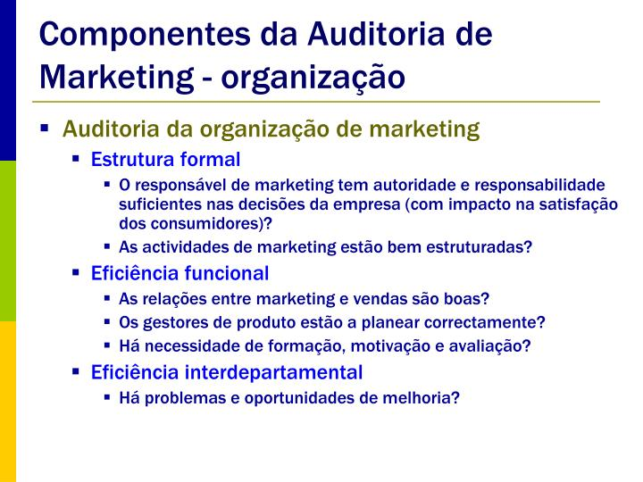 Componentes da Auditoria de Marketing - organização