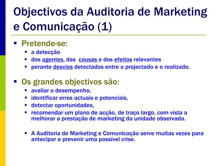 Objectivos da Auditoria de Marketing e Comunicação (1)