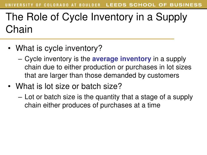 The Role of Cycle Inventory in a Supply Chain