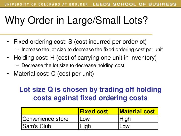 Why Order in Large/Small Lots?