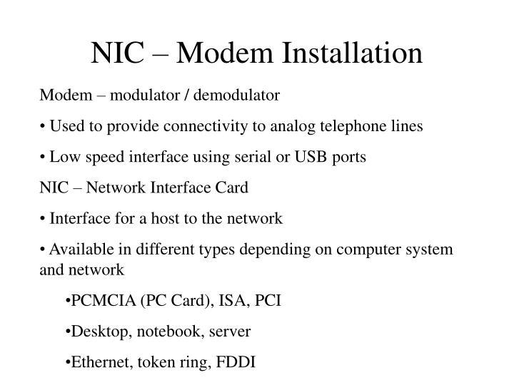 NIC – Modem Installation