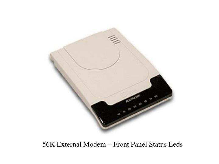 56K External Modem – Front Panel Status Leds