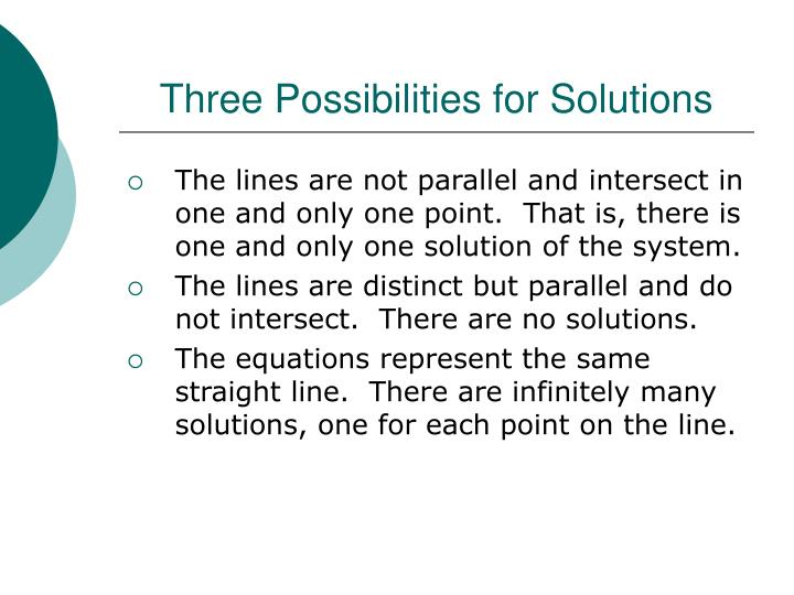 Three Possibilities for Solutions