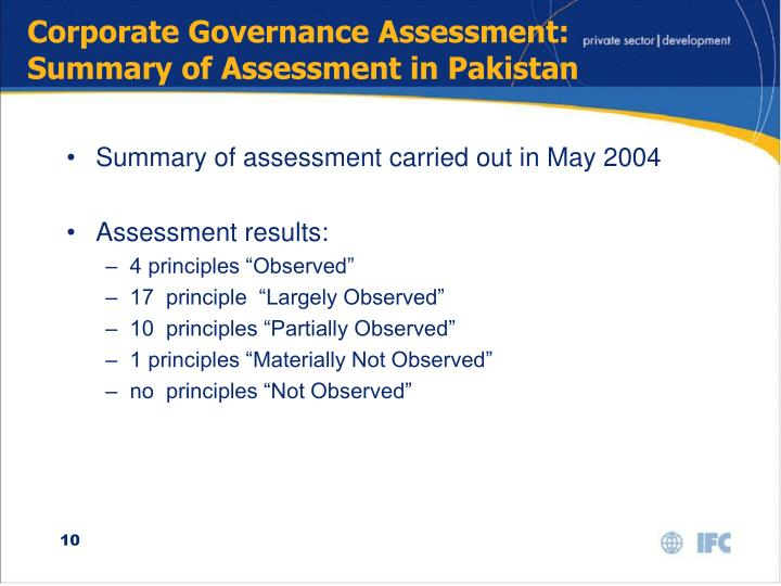 Corporate Governance Assessment:  Summary of Assessment in Pakistan