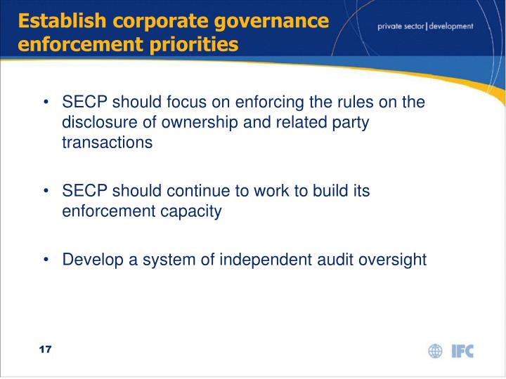 Establish corporate governance enforcement priorities