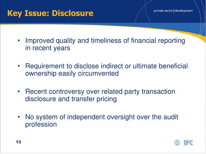 Key Issue: Disclosure