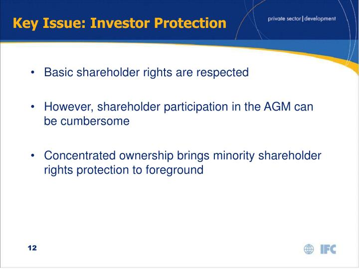 Key Issue: Investor Protection