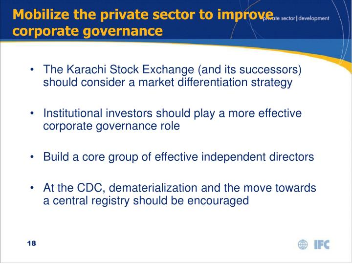 Mobilize the private sector to improve corporate governance