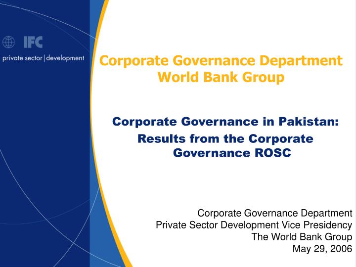 Corporate Governance Department