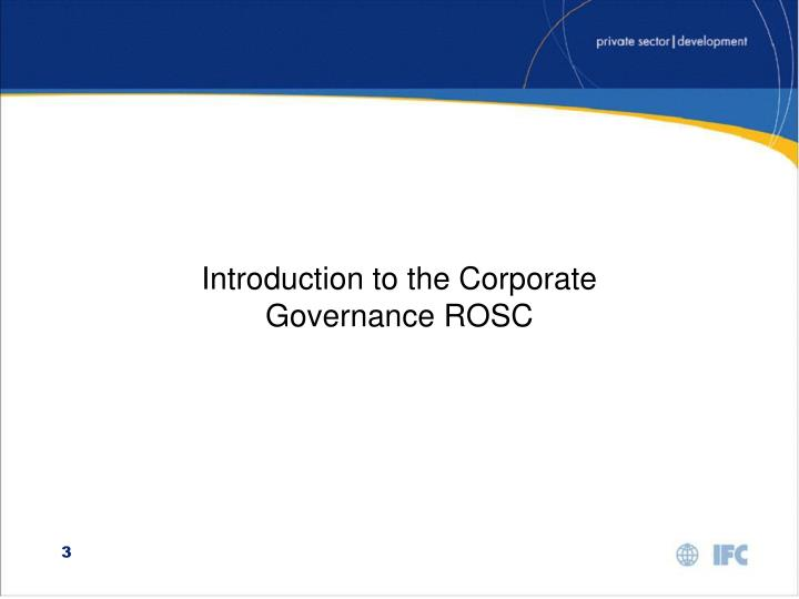Introduction to the Corporate Governance ROSC
