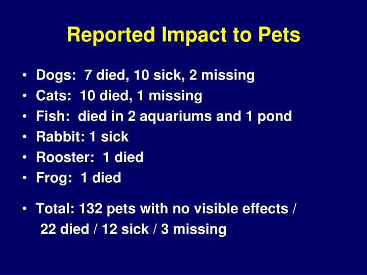 Reported Impact to Pets