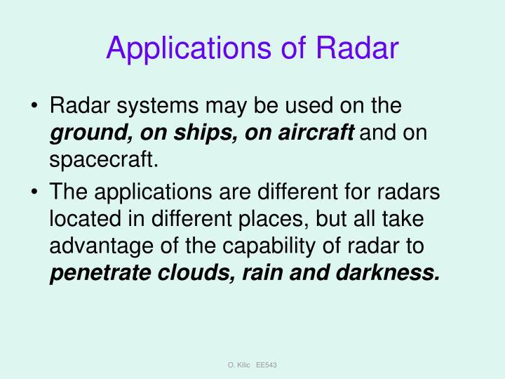 Applications of Radar