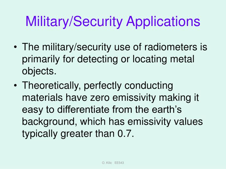 Military/Security Applications