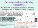 processes in remote sensing applications