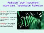 radiation target interactions absorption transmission reflection