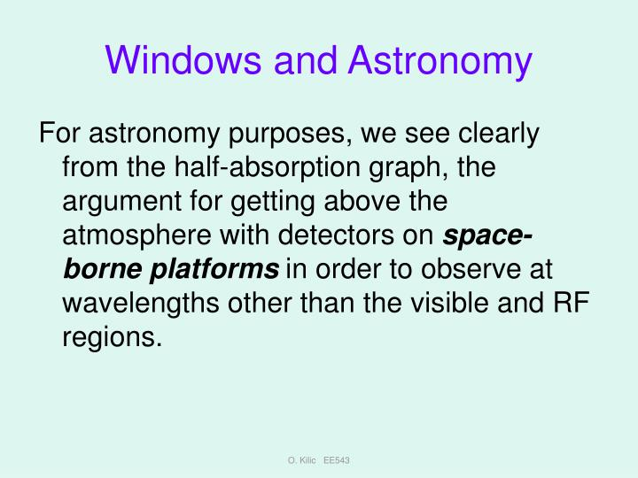 Windows and Astronomy