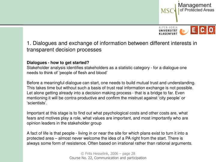 1. Dialogues and exchange of information between different interests in transparent decision processes