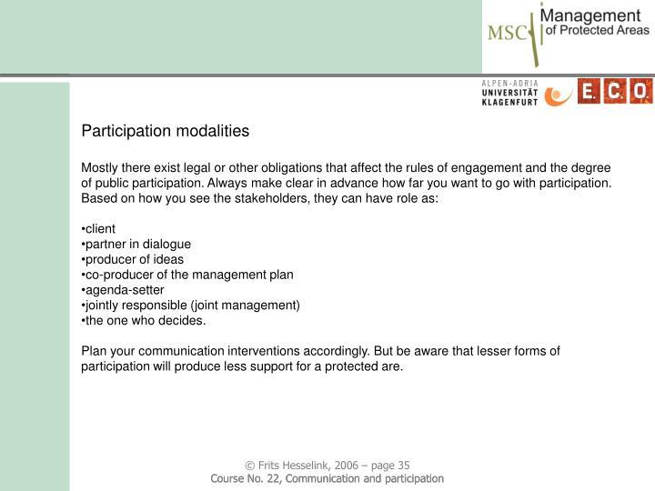 Participation modalities