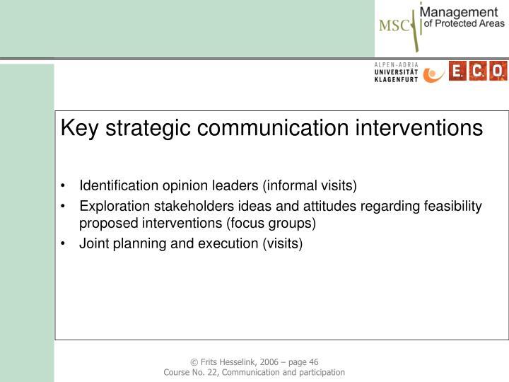 Key strategic communication interventions