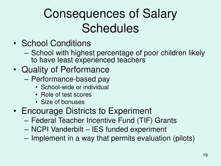 Consequences of Salary Schedules