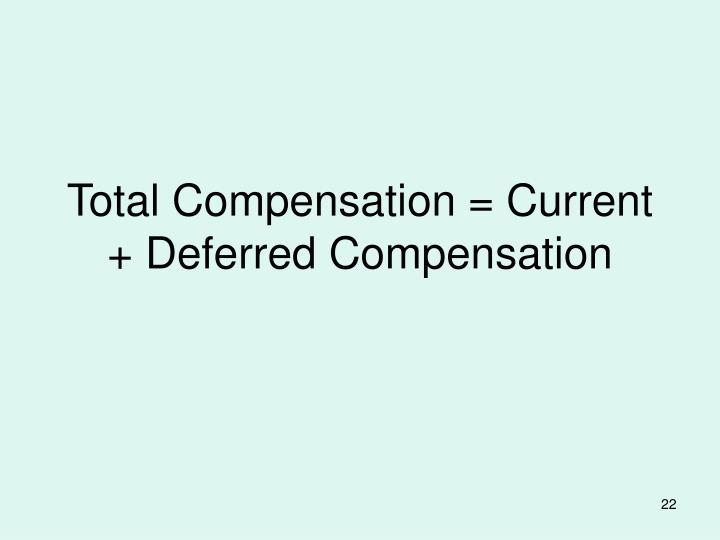 Total Compensation = Current + Deferred Compensation
